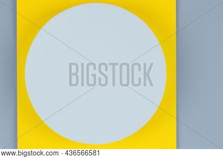 Pastel Blue Round Shape Platform Podium For Product Display On Yellow And Gray Paper Background. Abs
