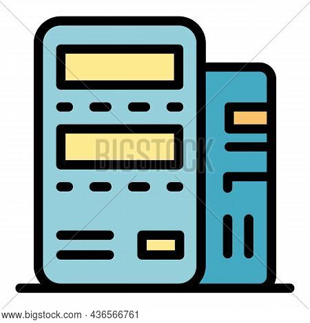 Modern Server Icon. Outline Modern Server Vector Icon Color Flat Isolated