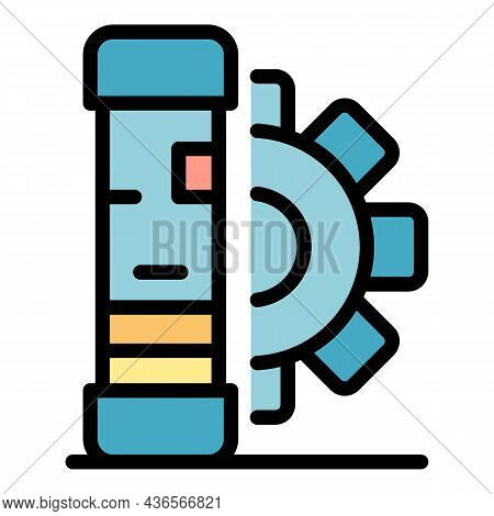 Server And Gear Icon. Outline Server And Gear Vector Icon Color Flat Isolated
