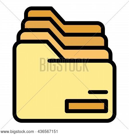Row Of Folders Icon. Outline Row Of Folders Vector Icon Color Flat Isolated