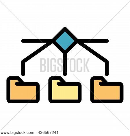 Server Folders Icon. Outline Server Folders Vector Icon Color Flat Isolated