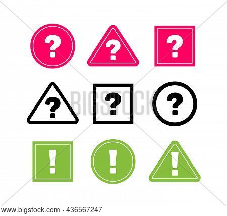 Big Collection Sign Question Mark. Circle Sign Exclamation Mark. Question, Stop,