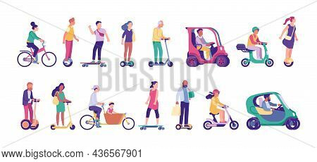 People Riding Ecological Transport. Mobile Electric City Movement. Persons Driving Cycles And Scoote