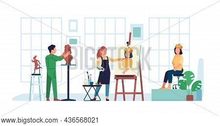 Artist Workshop. Creative Workspace. Art Class. Model Poses For Painter And Sculptor. People Hobby A
