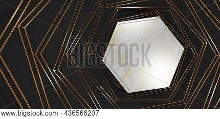Product Display Hexagon Frame Blank Marble Texture Background For Text And Goods 3d Illustration