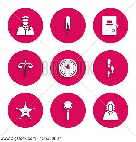 Set Clock, Magnifying Glass With Search, Judge, Footsteps, Hexagram Sheriff, Scales Of Justice, Laws
