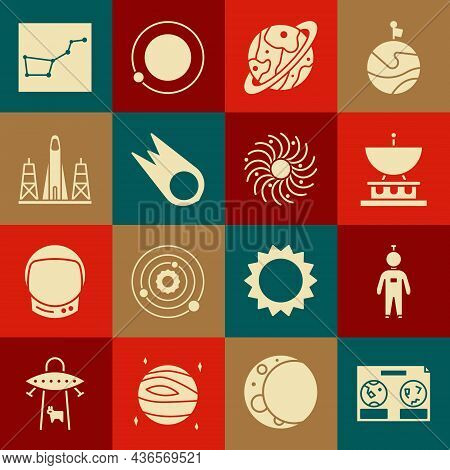 Set Celestial Map Of The Night Sky, Astronaut, Satellite Dish, Planet Saturn, Comet Falling Down Fas