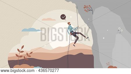 Rock Climbing Sport Activity Scene For Mountain Rope Adventures Tiny Person Concept. Professional Cl