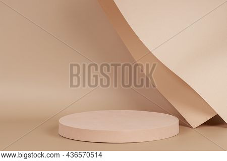 Abstract Trendy Composition With Empty Round Podium Platform For Product Presentation And Curve Shap