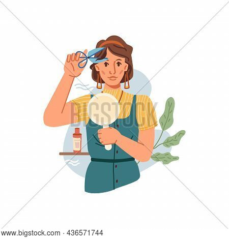 Woman Cuts Her Own Bangs Isolated Flat Cartoon Character. Vector Portrait Of Attractive Young Girl C