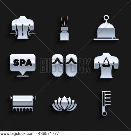 Set Flip Flops, Lotus Flower, Hairbrush, Massage With Aroma Oils, Towel On Hanger, Spa Salon, Sauna