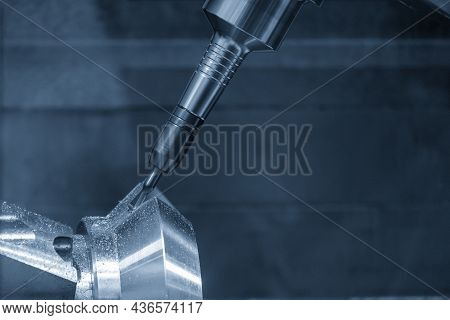 The  5-axis  Machining Center Cutting The Metal Gear Parts By Solid Ball End Mill Tool . The Hi-prec