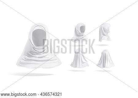 Blank White Female Al-amira Mockup, Different Views, 3d Rendering. Empty Women Head-covering Burqa M