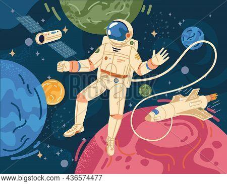 Spaceman Scientific Hero In Astronaut In Cosmos On Background Of Color Cartoon Planets. Vector Astro