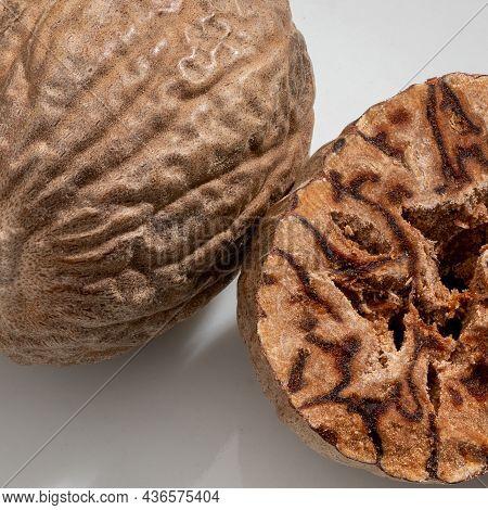 Detailed And Large Close Up Shot Of Nutmeg.