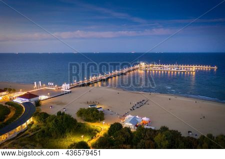 Molo pier on the Baltic Sea in Sopot at sunset, Poland.