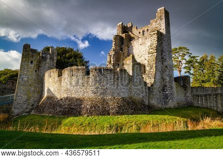 Ruins of the castle in Adare at sunset, Ireland