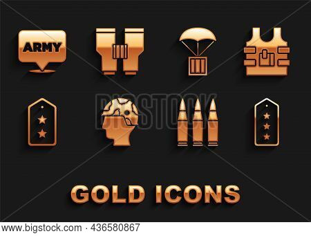 Set Army Soldier, Bulletproof Vest, Military Rank, Airdrop Box, Army And Binoculars Icon. Vector