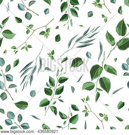 Seamless Pattern With Branches And Green Leaves. Spring Or Summer Stylized Foliage.