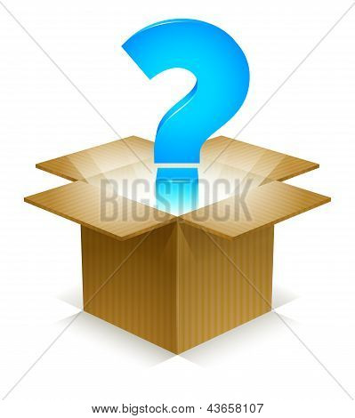 Blue Question Mark in shining light, floating out of a corrugated cardboard box. Labeled Global Color Swatches for ultra simple color editing. EPS10 Vector. poster
