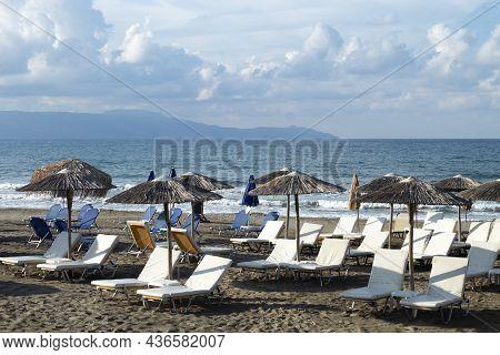 Beautiful Agia Marina, Chania Crete, Greece  Charming Greek Beach Scene  Sun Loungers On The Sands W