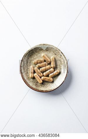 Ashwagandha (withania Somnifera) Capsules. Concept For A Healthy Dietary Supplementation. Bright Pap