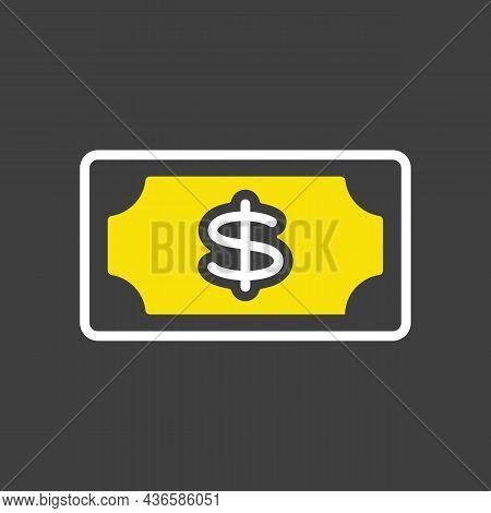 Dollar Money Banknote Glyph Icon. E-commerce Sign. Graph Symbol For Your Web Site Design, Logo, App,