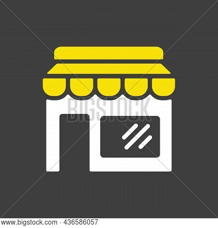 Store Front Isolated Glyph Icon. E-commerce Sign. Graph Symbol For Your Web Site Design, Logo, App,