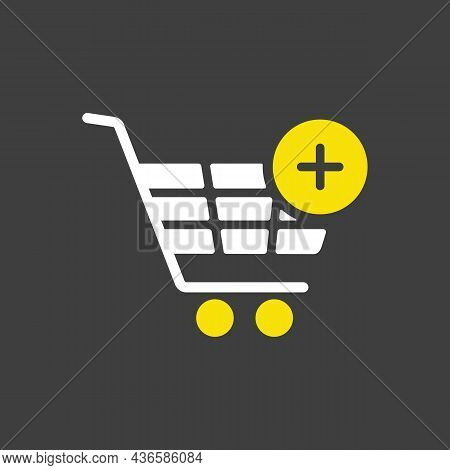Shopping Cart Glyph Icon With Plus. Add From Cart. E-commerce Sign. Graph Symbol For Your Web Site D