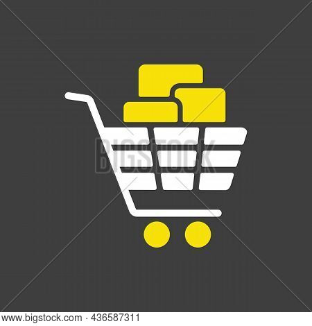 Shopping Cart With Boxes Glyph Icon. E-commerce Sign. Graph Symbol For Your Web Site Design, Logo, A