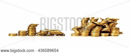 Destroyed Stack Of Gold Coins. The Concept Of Business Failure, Loss Of Money, Bad Investment. Isola