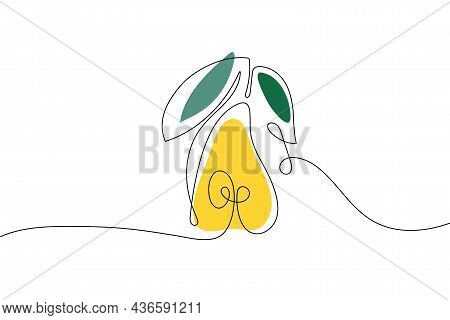Continuous One Line Drawing Pear With Leaves. Farmer Market Logo. Abstract Hand Drawn Fruit By One L