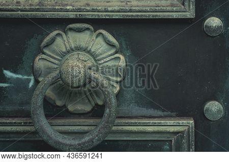 Green Vintage Old Metal Doors With Door Knocker. Antique Doors