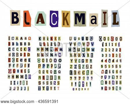 Blackmail Or Ransom Anonymous Note Font. Latin Letters And Numbers