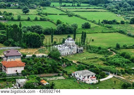 Lead Mosque Without Minarets Among Green Fields In A Valley Near Shkoder (albania) - Top View. Beaut