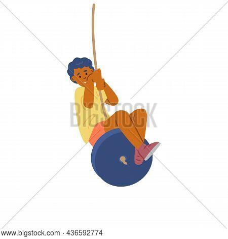African Boy Swinging On Bungee Sitting On Wheel In Flat Vector Illustration
