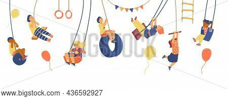 Set Of Different Kids On Swing, Other Rope Sport Equipment In Flat Vector