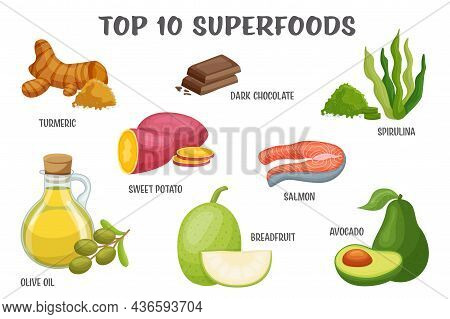Superfoods Icon Set. Healthy Natural Dietary Super Foods With Vitamins For Wellness. Packaging Adver