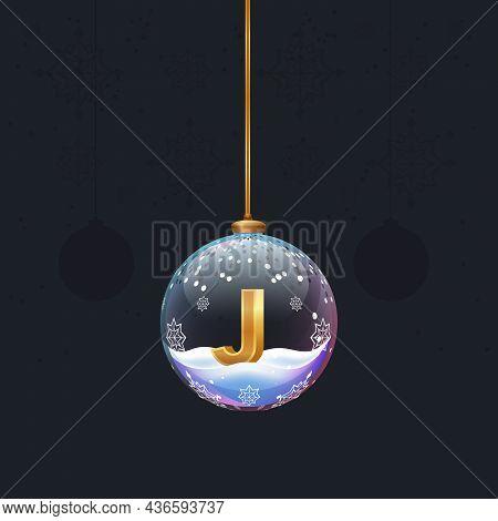 New Year Alphabet Letter In Glass Christmas Toy. Golden 3d Letter J Inside. Decoration Element For D