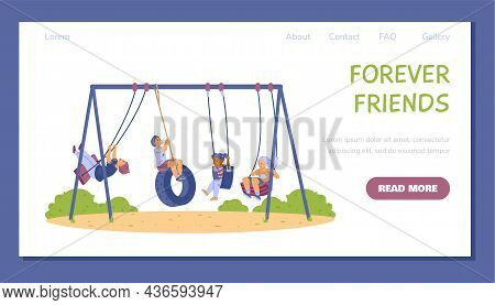 Web Banner With Children On Swing, Rope Sports Equipment At Playground