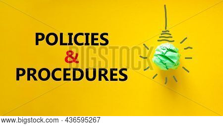 Policies And Procedures Symbol. Green Shining Light Bulb Icon. Words 'policies And Procedures'. Beau