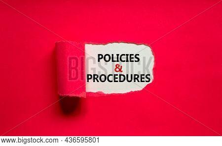 Policies And Procedures Symbol. Words 'policies And Procedures' Appearing Behind Torn Purple Paper.