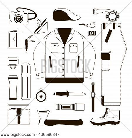Set Of Silhouettes Of Clothes For Men. Black Outline On A White Background. Travel Wardrobe Items. O