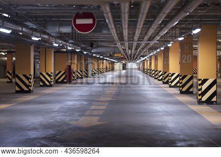 Empty Shopping Mall Underground Parking Lot Or Underground Parking Garage.