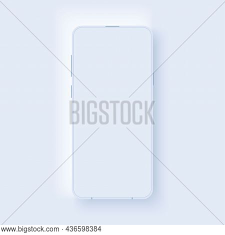 Modern Mockup Smartphone In Neumorphic Style. Realistic Frame With Blank Display. Template Design Fo