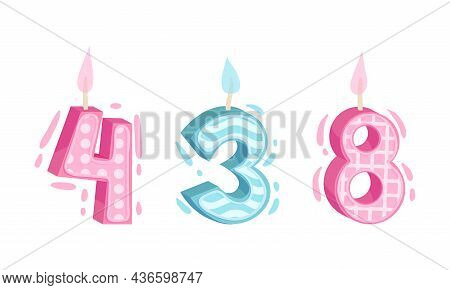 Three, Four, Eight Birthday Candles Set. Anniversary Party Candle Cartoon Vector Illustration