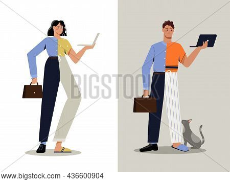 Hybrid Work Concept. Man And Woman In Business Suit And Pajamas Work In Office And At Home. Remote O