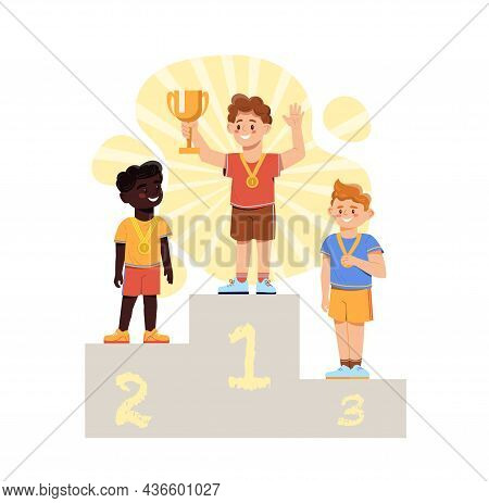Winner Podium Concept. Athletes Were Placed On Podium With First, Second And Third Places. Champion