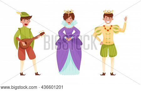 Medieval People Set. Minstrel, Queen And King European Middle Ages Historical Characters Cartoon Vec