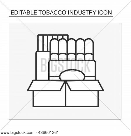 Tobacco Company Line Icon.growth, Preparation For Sale, Shipment, Advertisement, And Distribution Of